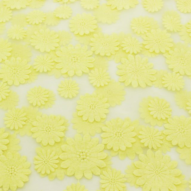 Yellow Embroidery Organza Fabric Tulle Embroidered Floral Apparel Tissu Sewing Skirt Cloth Lace Fabric 50*120cm