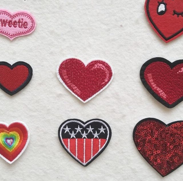 17 Styles Heart Shaped Embroidery Applique Patches