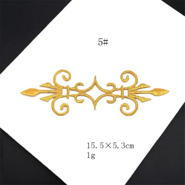 Gold Retro Style Embroidery Applique Patches