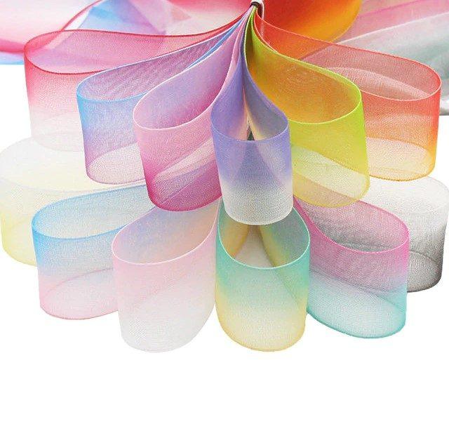 Gradient Colour Organza Trim Ribbons