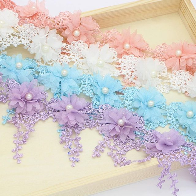 Handmade 3D Pastel Colour Embroidery Flowers Lace Fabric Trim Ribbons