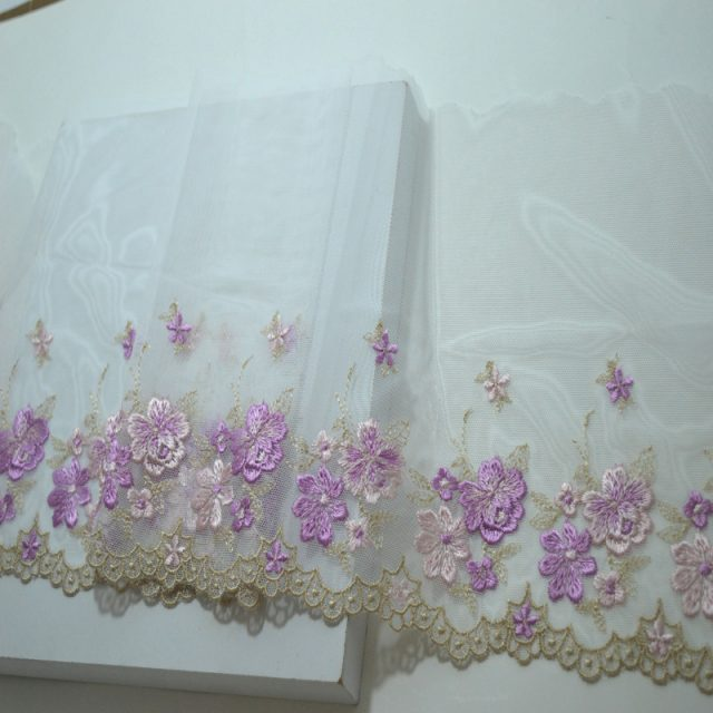 Multi Colour Gauze Floral Embroidery Fabric Trim Ribbons