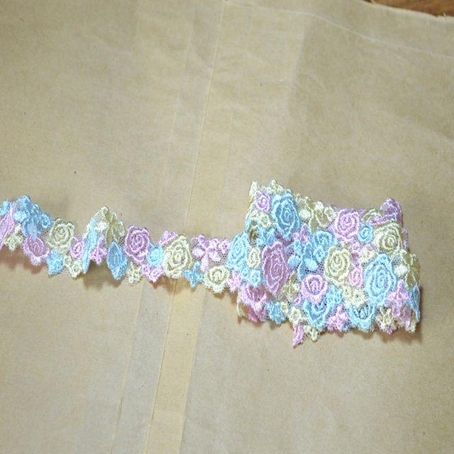Pastel Colour Floral Embroidery Lace Trim Ribbons