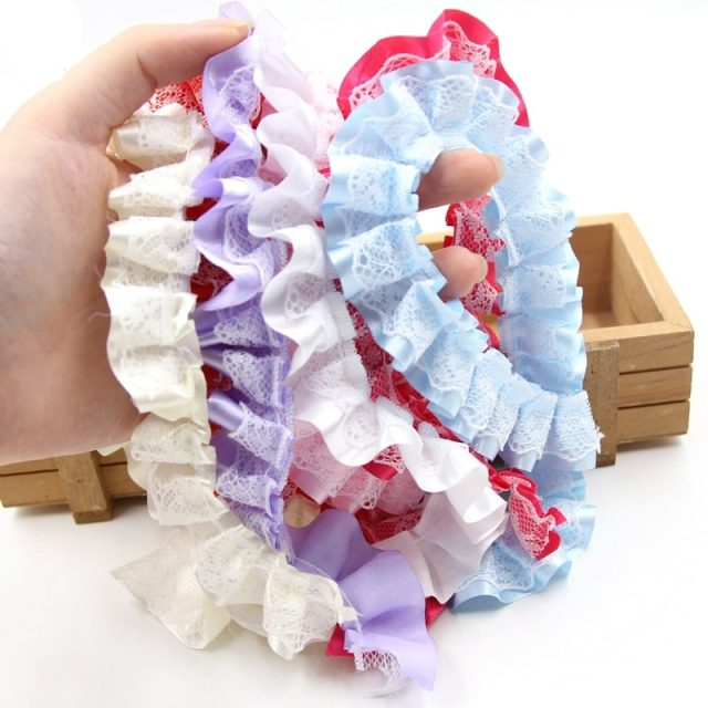Multi Pastel Colour Embroidery Pleated Dollies Ruffle Chiffon Edge Lace Trim Ribbons