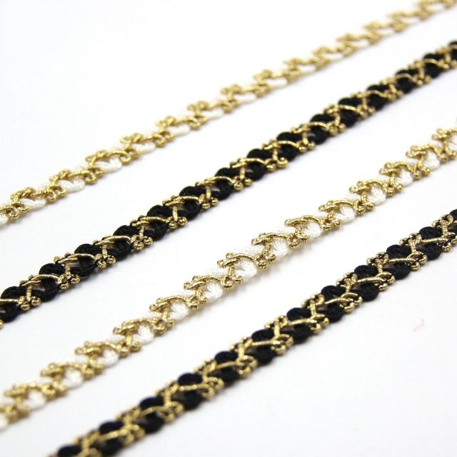Gold Silver Braided Lace Ribbons Edge Trim