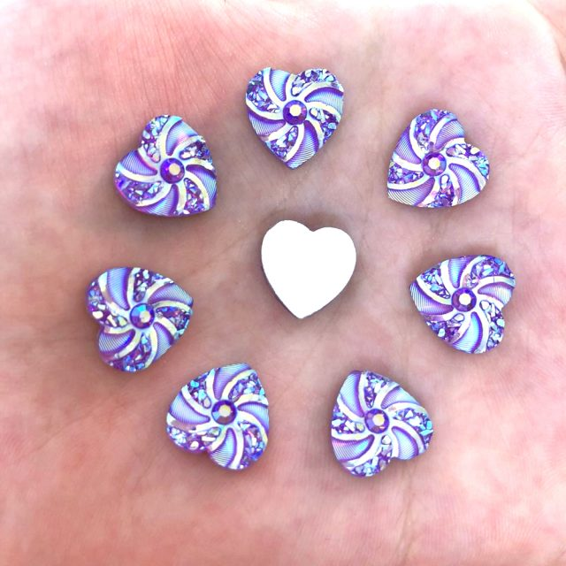 Multi Colour Heart Shaped Swirl Flatback Rhinestones Beads