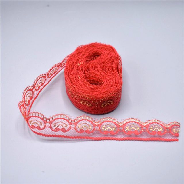 Multi Colour Modern Gold Thread Embroidery Lace Edge Trim Ribbons