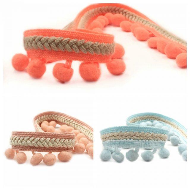 Multi Pastel Colour Cute Embroidery Pom Pom Fringe Edge Trim Ribbons
