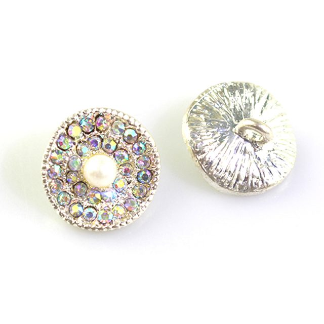 Nickel Free Fashion Pearl Rhinestones Metal Beads Buttons