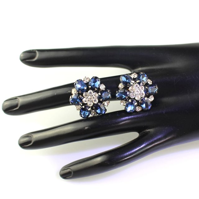 Royal Blue Colour Fashion Flower High Quality Motif Rhinestones Flatback Beads Buttons