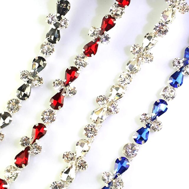 High Quality Crystal Motif Rhinestones Multi Colour Teardrops Chain Trims
