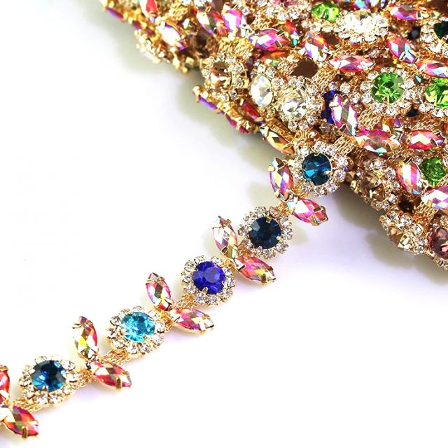 High Quality Crystal Motif Rhinestones AB Multi Colour Decorative Chain Trims