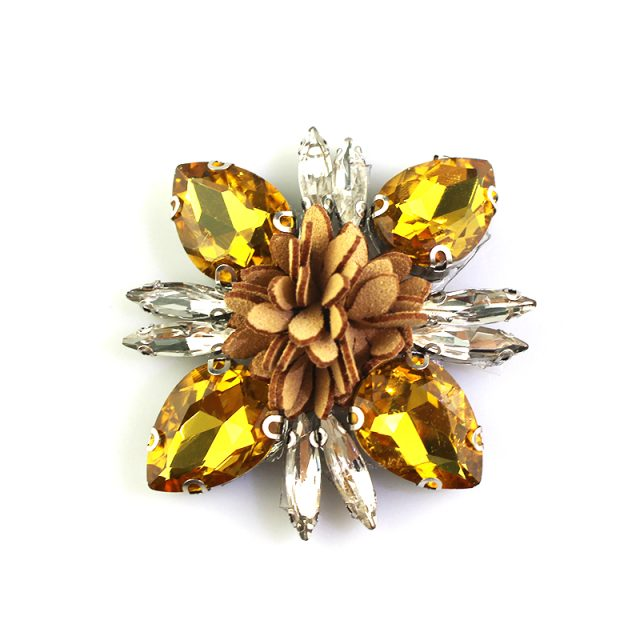 High Quality Crystal Motif Rhinestones Flowers Iron On Hotfix Beads Applique Patches
