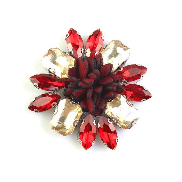 High Quality Multi Colour Crystal Motif Rhinestones Flowers Iron On Hotfix Beads Applique Patches
