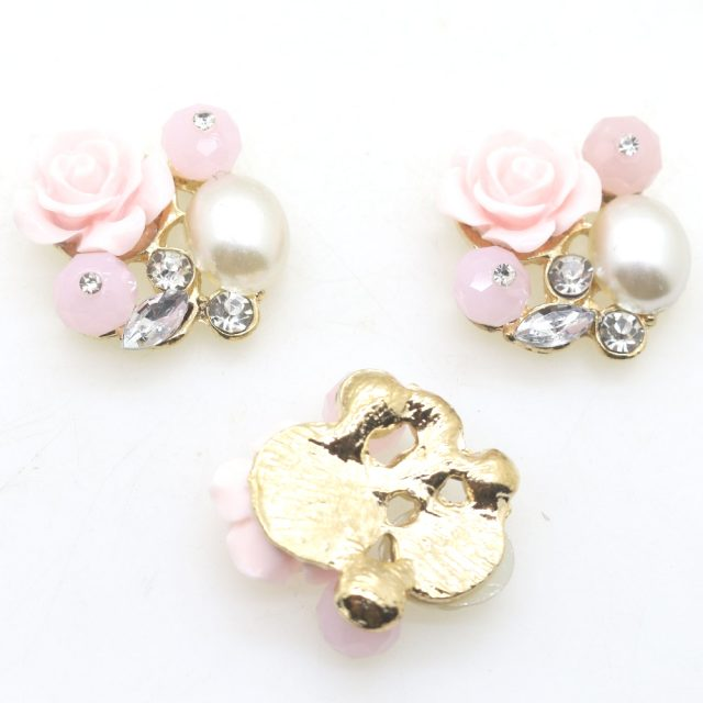 Pink Roses Fashion Pearls Rhinestones Flatback Beads Buttons