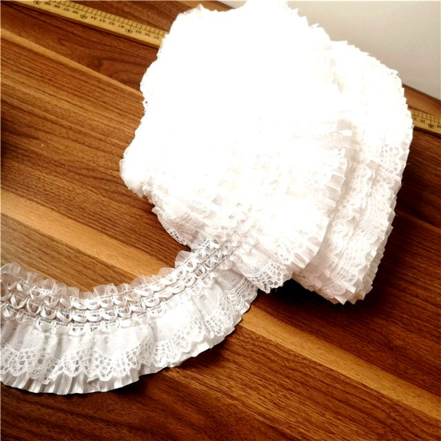 Exquisite White Embroidery Elastic Lace Ribbons Trim Ruffles