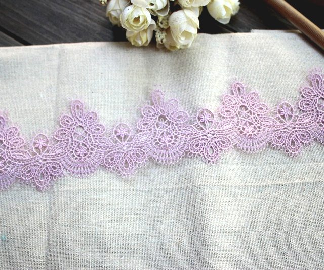 Exquisite Purple Embroidery Lace Trims Ribbons