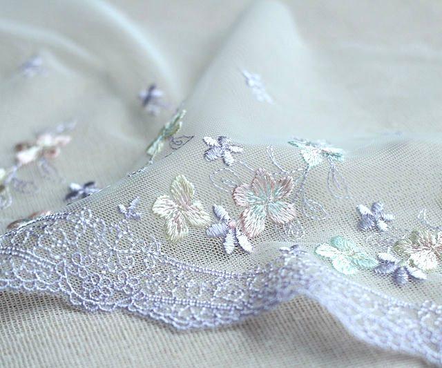 Exquisite Purple Embroidery Flower Floral Venise Lace Fabric Ribbons Trim