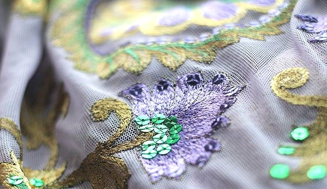 MLAEY Sequined Embroidered african fabric , embroidered sequins fabric Bridal Wedding Apparel Fabrics Supply lace Trim