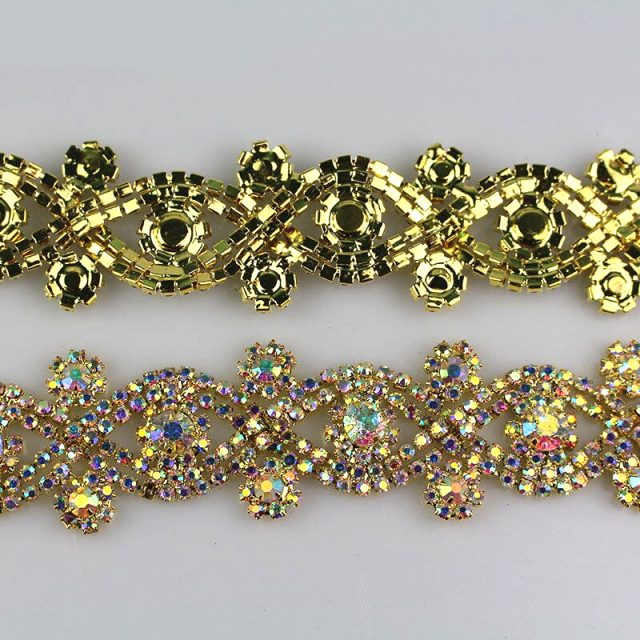 High Quality Crystal Motif Rhinestones Ethnic Inspired Special Occasion Chain Trims